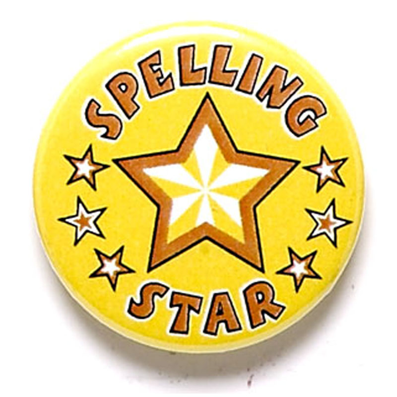 1 Inch Spelling Star Pin Badge