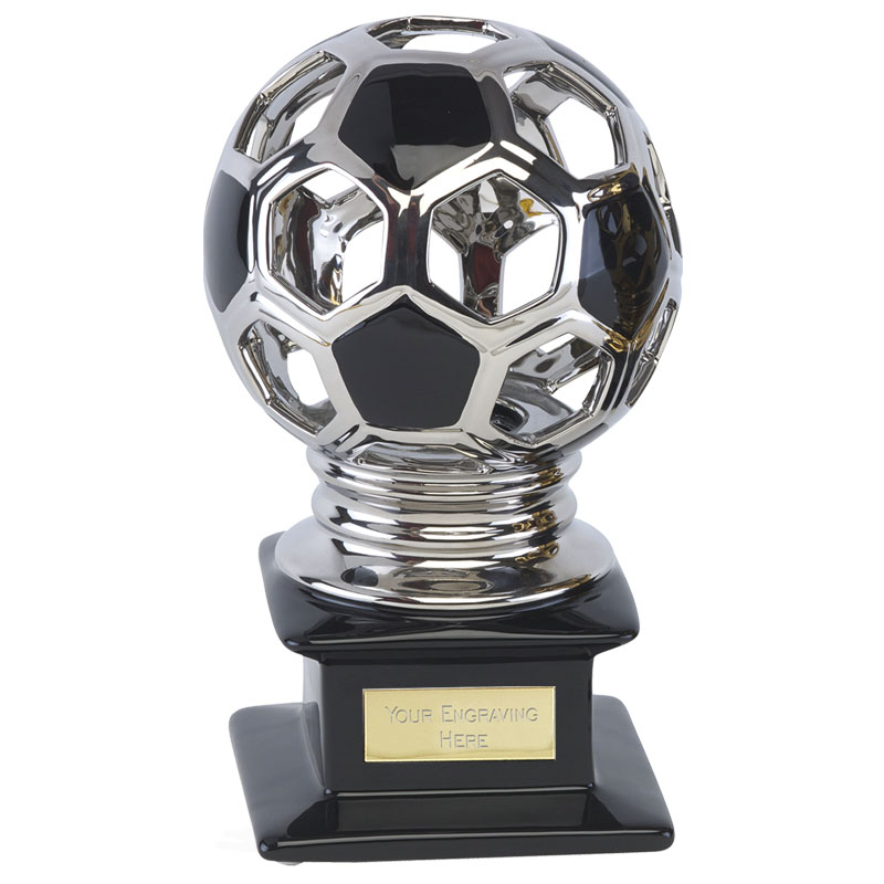 10 Inch High Gloss Silver Ball Football Cyclone Award