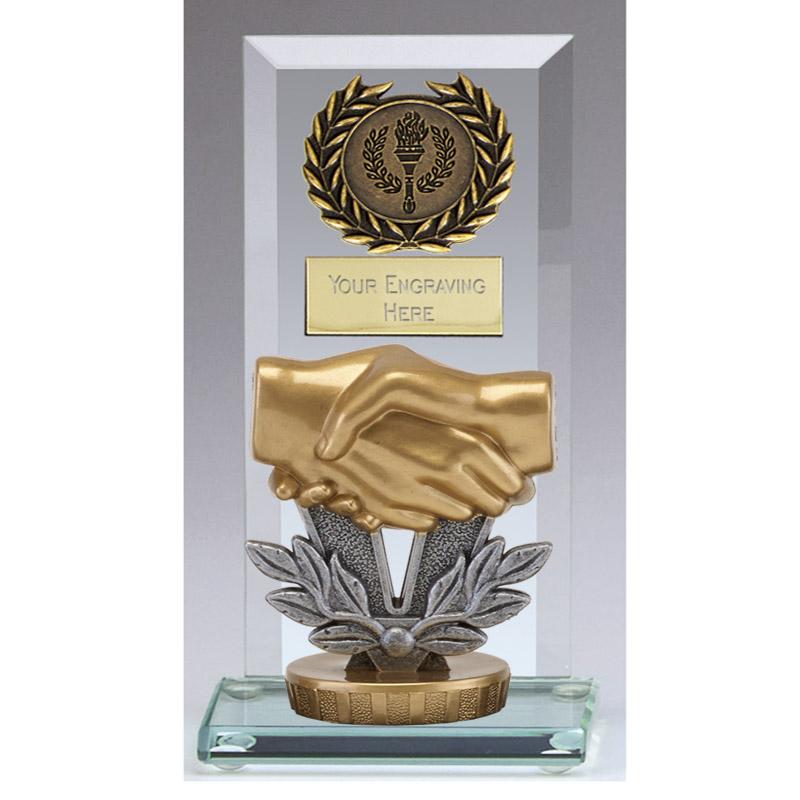 16cm Handshake Figure On Football Jade Core Award