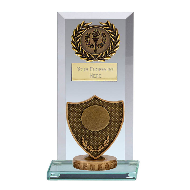 16cm Shield with Centre Figure on Football Jade Core Award
