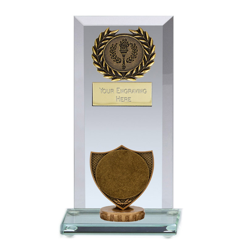 """16cm Shield with 2"""" Centre Figure on Football Jade Core Award"""