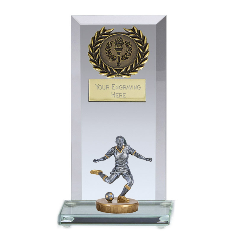 16cm Footballer Female Figure on Football Jade Core Award