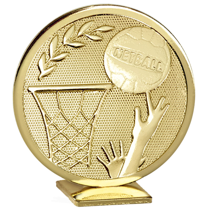60mm Free Standing Gold Netball Global Medal