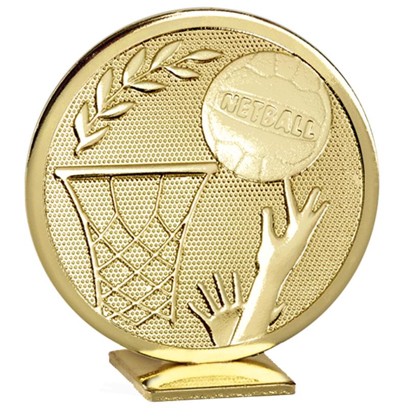 60mm Free Standing Gold Netball Global Medal