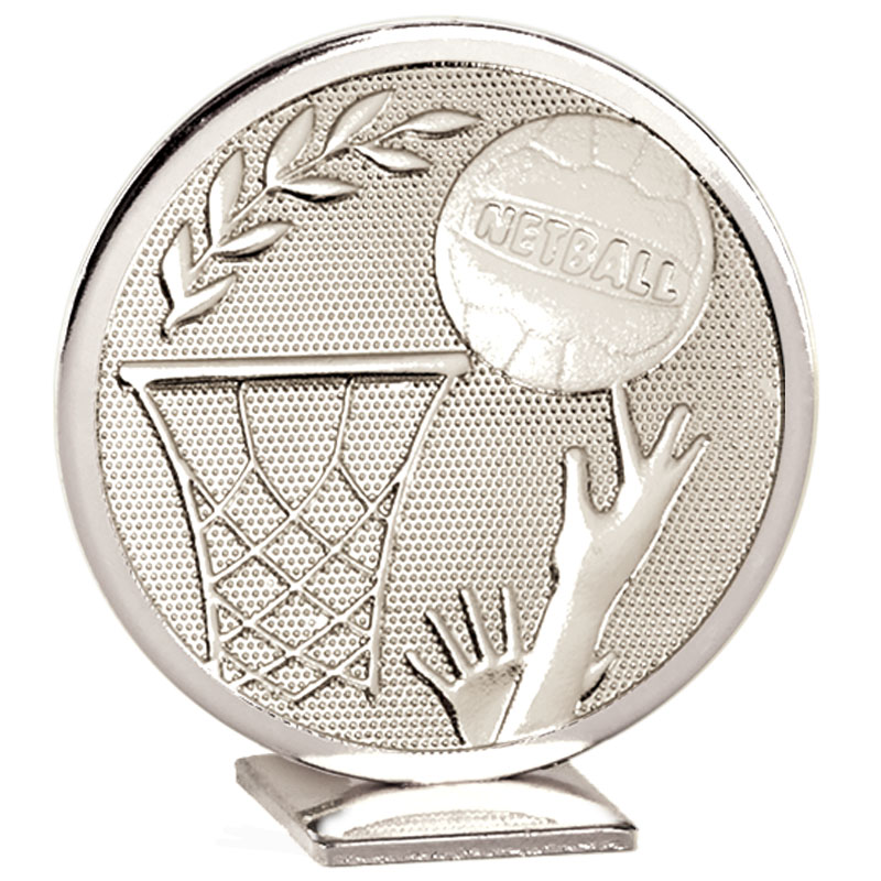 60mm Free Standing Silver Netball Global Medal