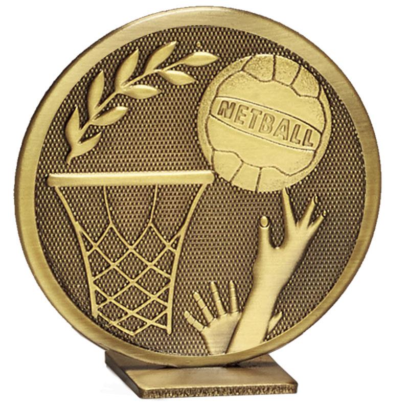 60mm Free Standing Bronze Netball Global Medal