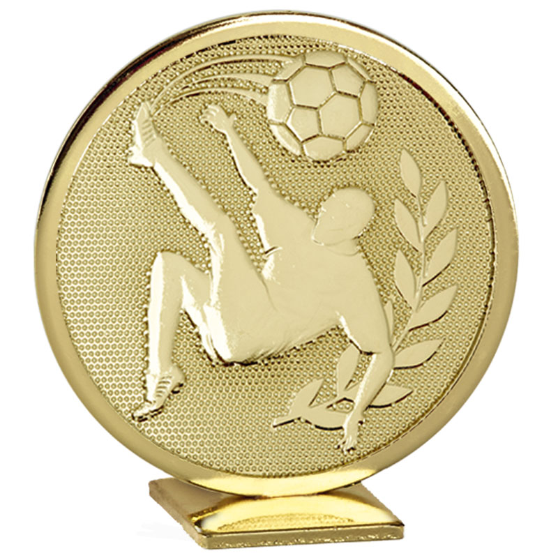 60mm Free Standing Gold Football Global Medal