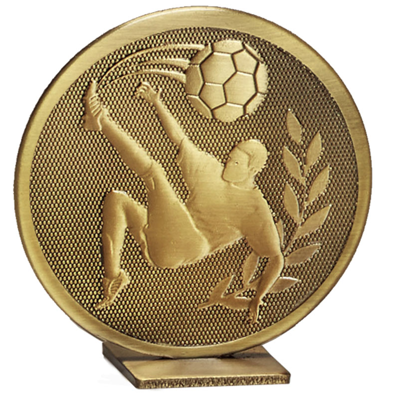 60mm Free Standing Bronze Football Global Medal