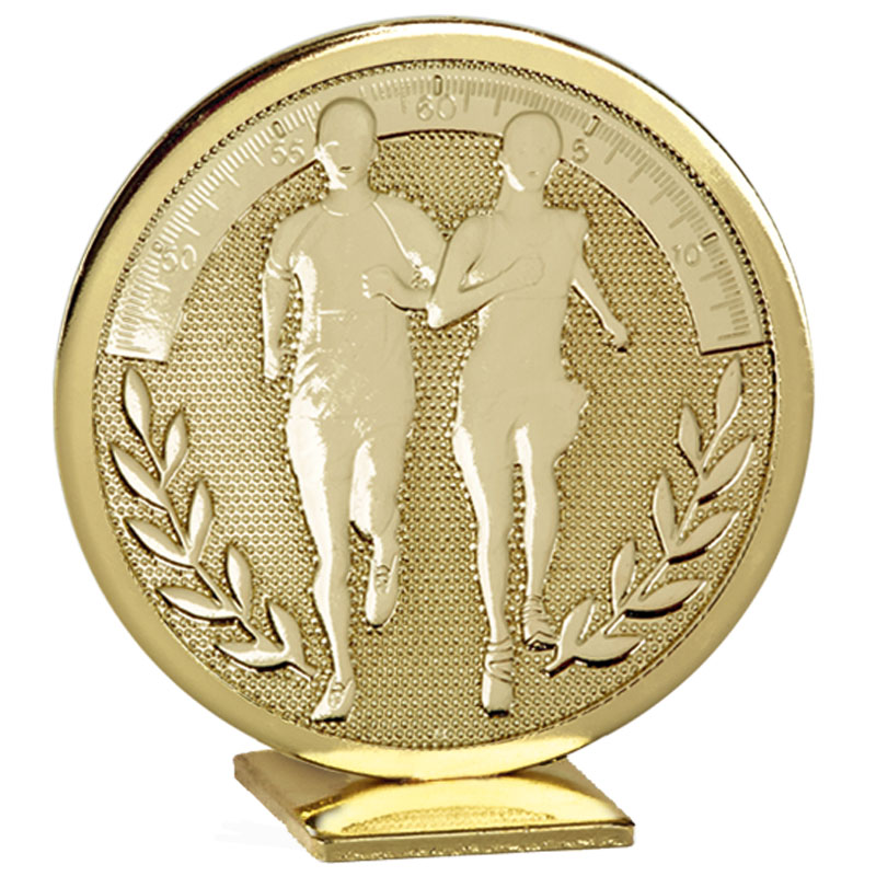 60mm Free Standing Gold Running Global Medal