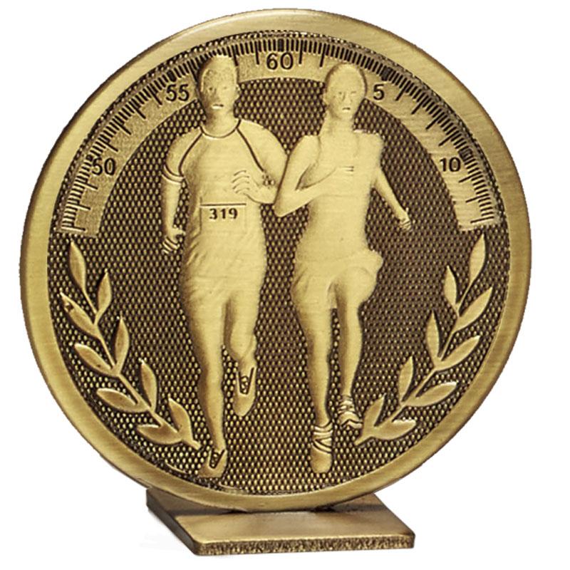 60mm Free Standing Bronze Running Global Medal