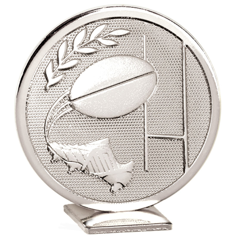 60mm Free Standing Silver Rugby Global Medal