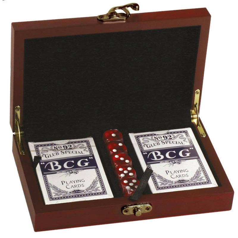 Rosewood Cards & Dice Casino Gift Set