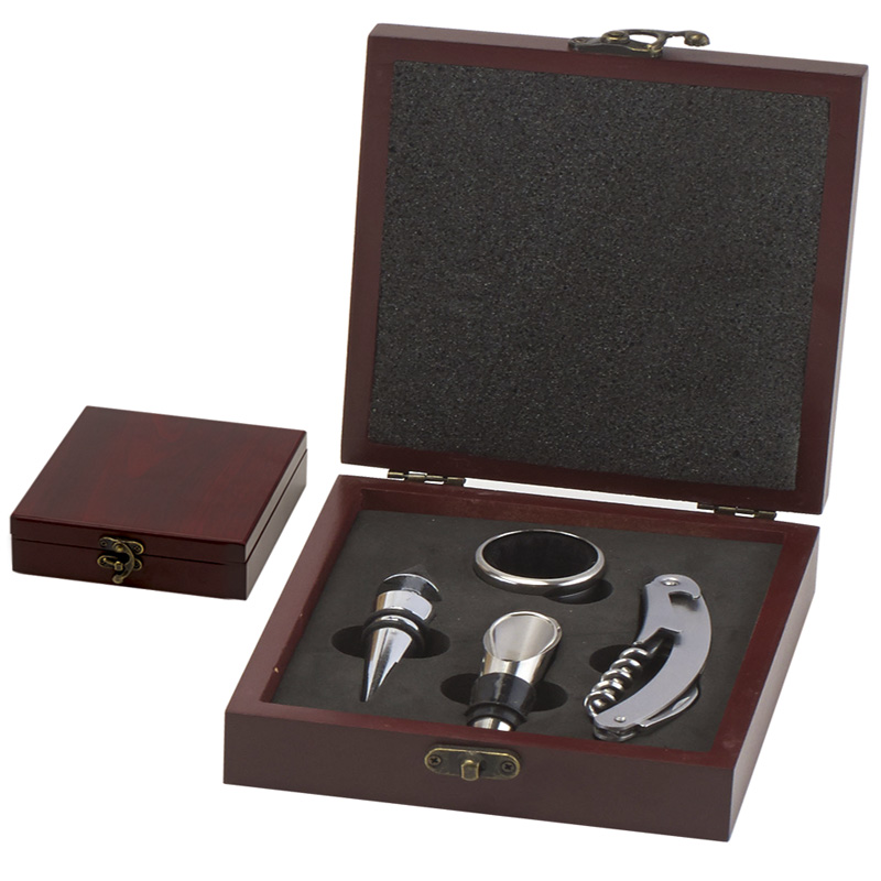 Rosewood Four Piece Vineyard Wine Tools Gift Set