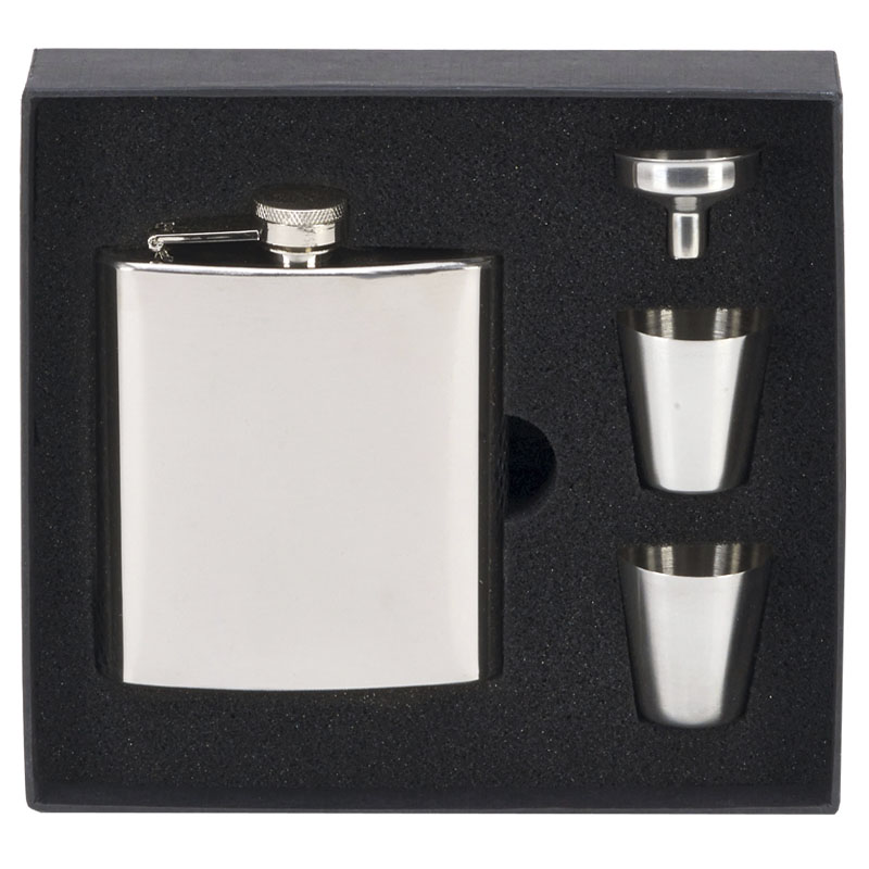 6oz Plain Rectangular Flask with two cups Vision Drinking Set