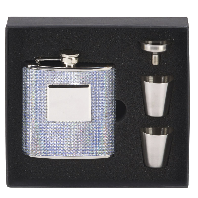 6oz Diamante Rectangular Flask with two Cups Vision Drinking Set