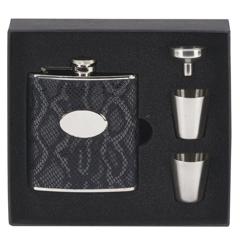 6oz Black Faux Leather Flask with two Cups Vision Drinking Set