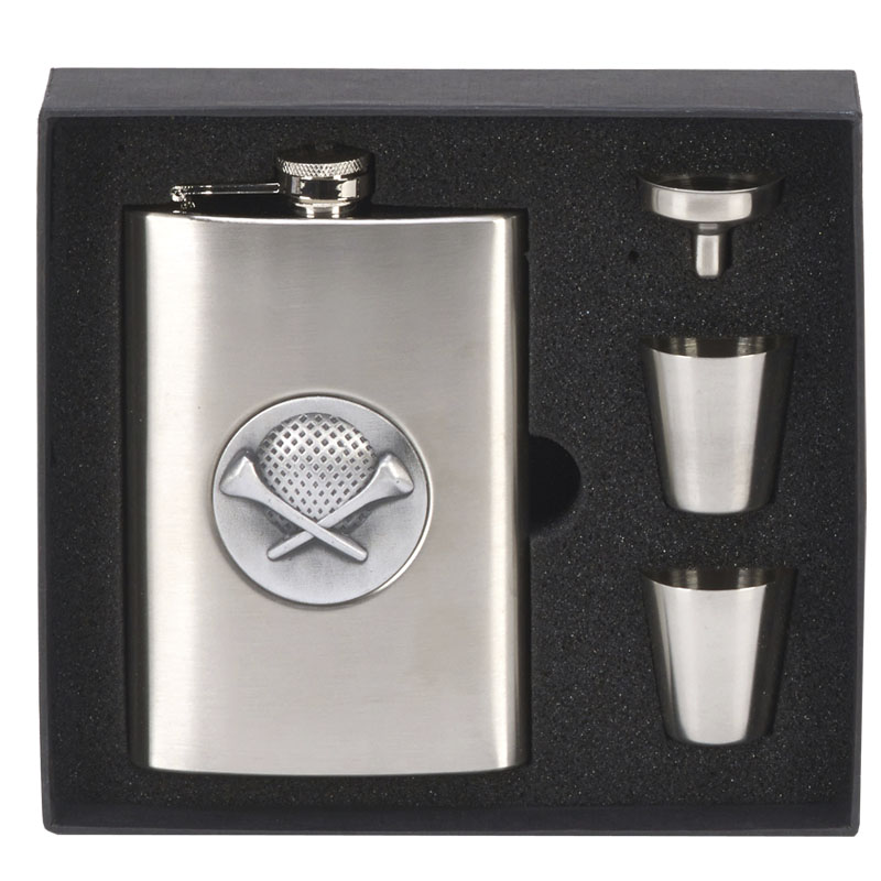Golf Inlay Flask with Cups Golf Vision Drinking Set