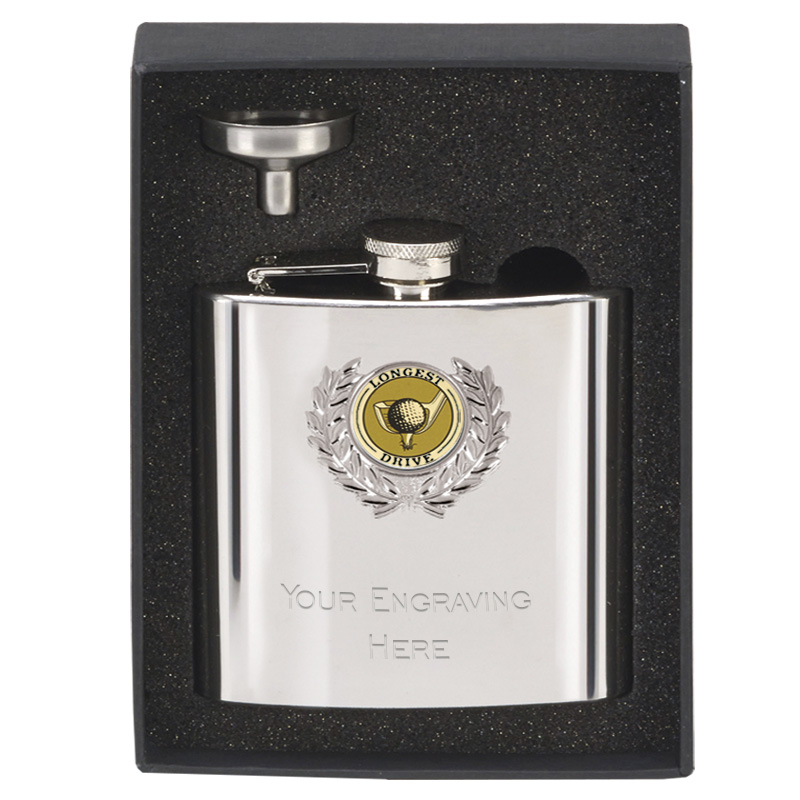 6oz Longest Drive Centre Golf Mirror Hip Flask