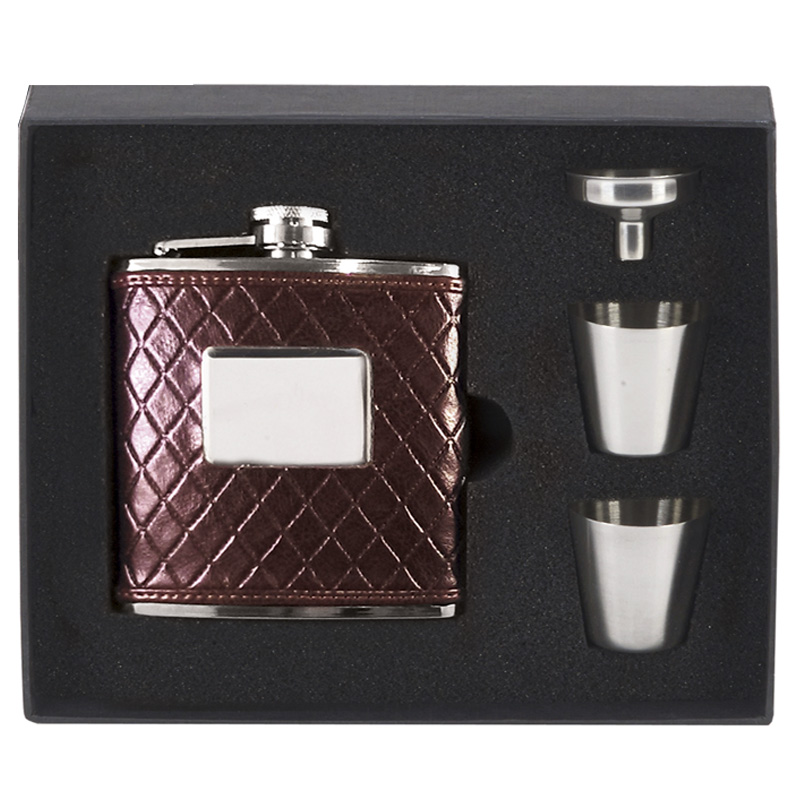 6oz Faux Leather Flask with Cups Vision Drinking Set