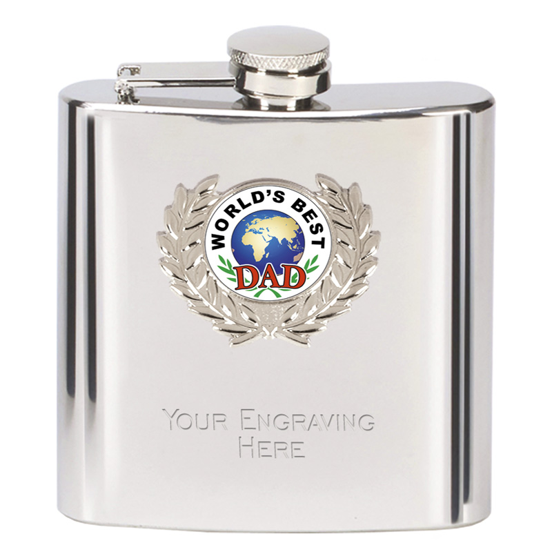6oz Worlds Best Dad Wreath Border Hip Flask