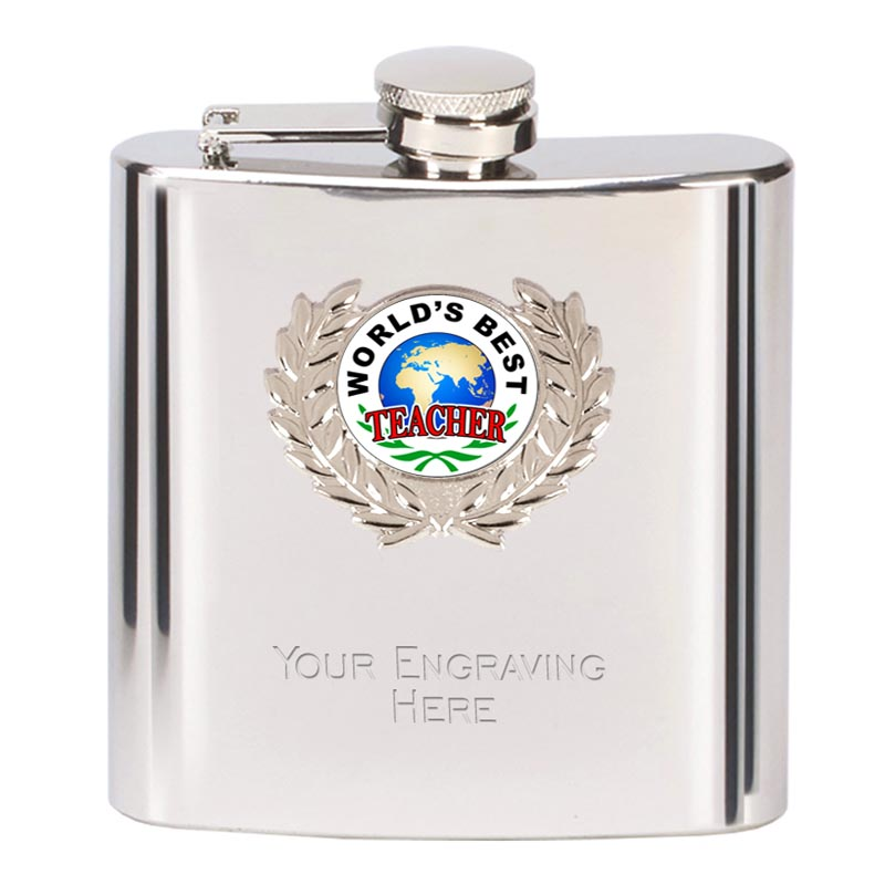 6oz Worlds Best Teacher Wreath Border Hip Flask