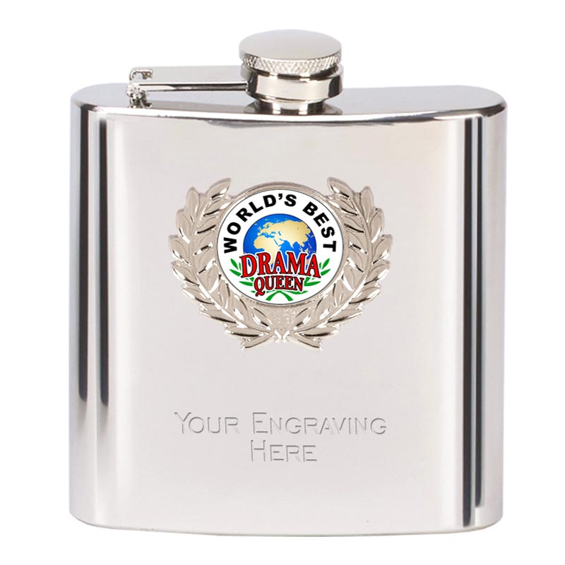 6oz Worlds Best Drama Queen Wreath Border Hip Flask
