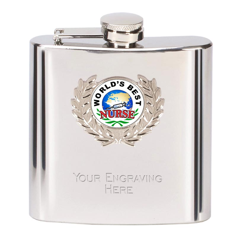 6oz Worlds Best Nurse Wreath Border Hip Flask