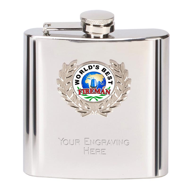 6oz Worlds Best Fireman Wreath Border Hip Flask