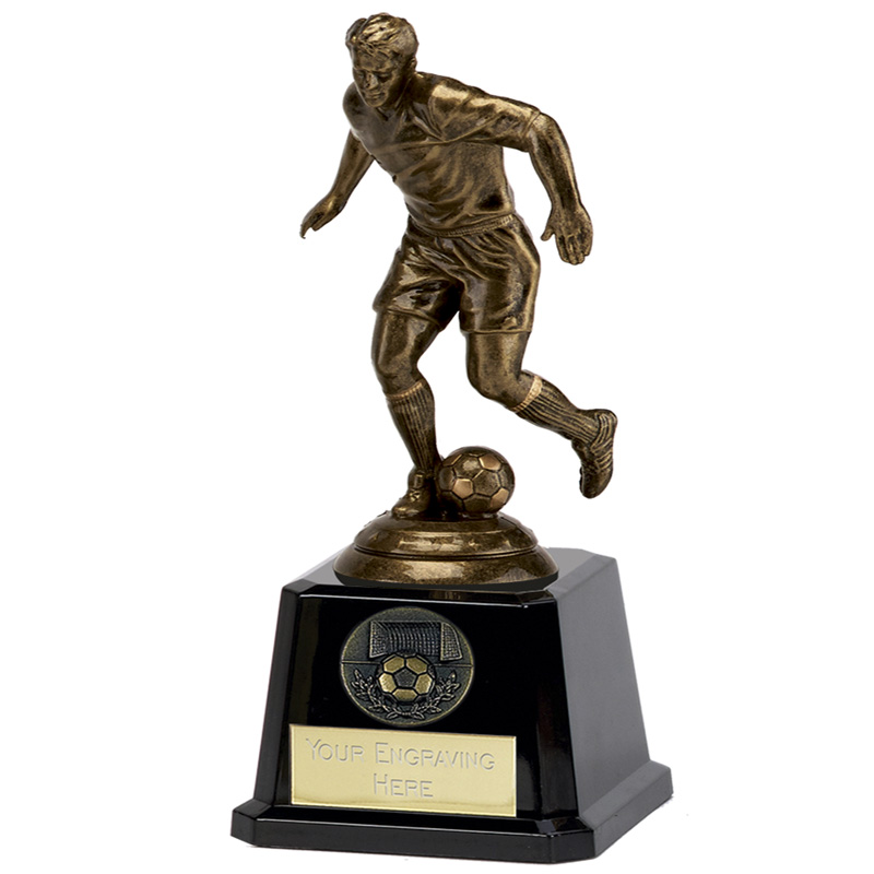 6 Inch Bronze Effect Player Football Icon Statue