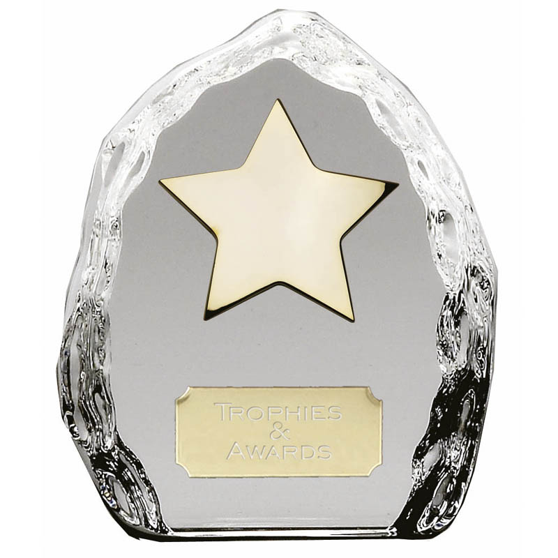 4 Inch Crystal Iceberg Gold Plated Star Award