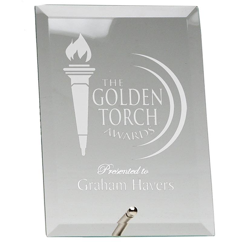 4 Inch Crest Jade Glass Award