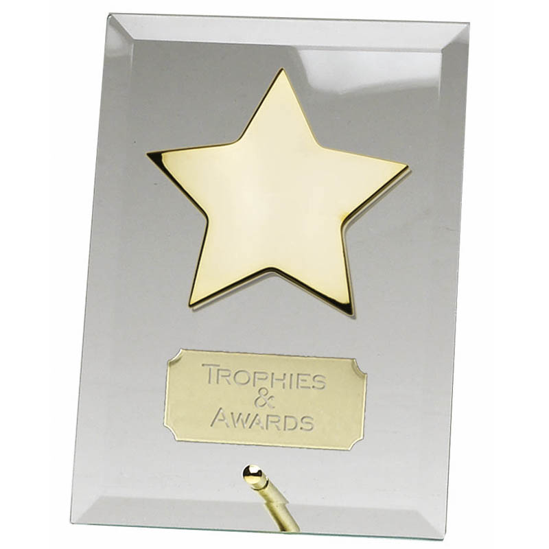 5 Inch Gold Star Crest Glass Plaque