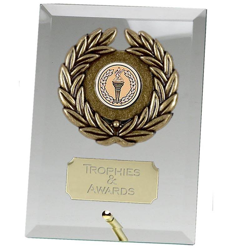 5 Inch Laurel Wreath Rectangular Jade Glass Award