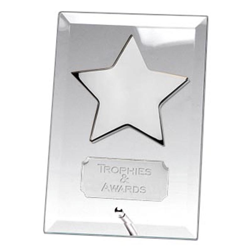 6 Inch Silver Star Crest Glass Plaque