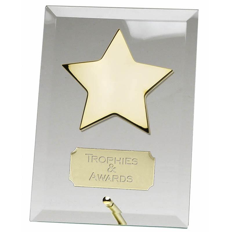 6 Inch Crest Star Jade Glass Award