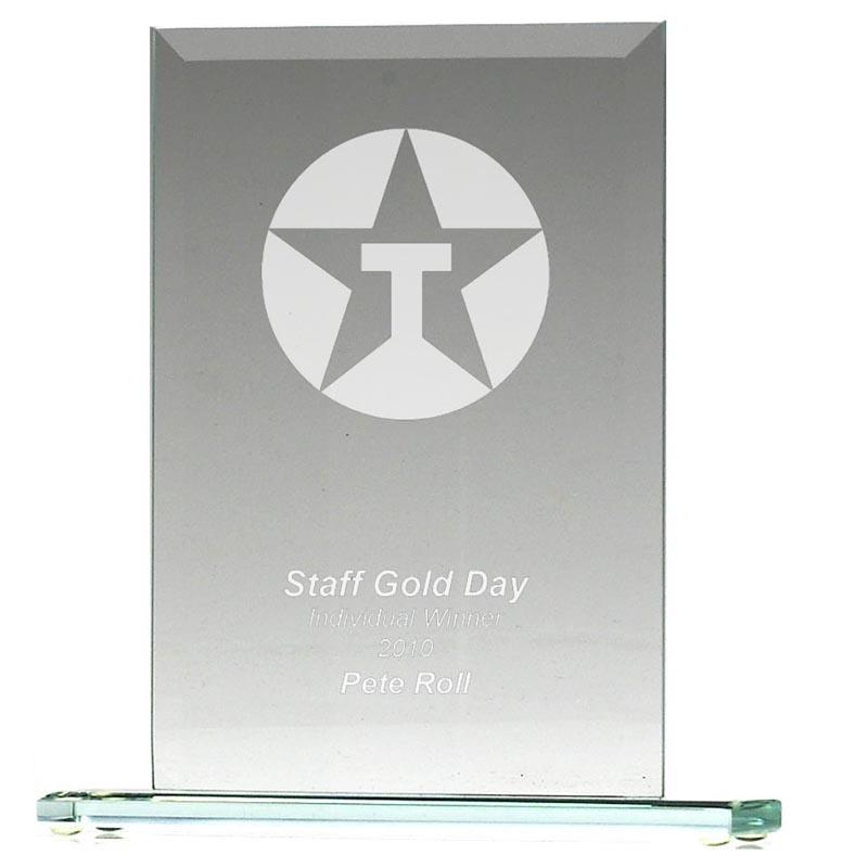 4 Inch Rectangle Plate Jade Glass Award