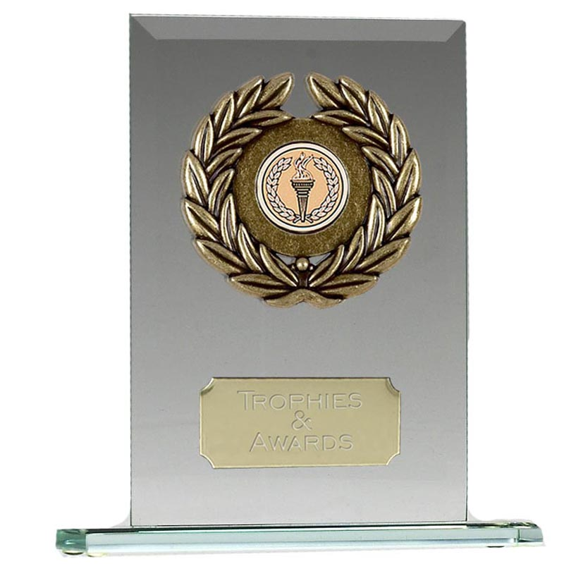 4 Inch Laurel Wreath Oblong Jade Glass Award
