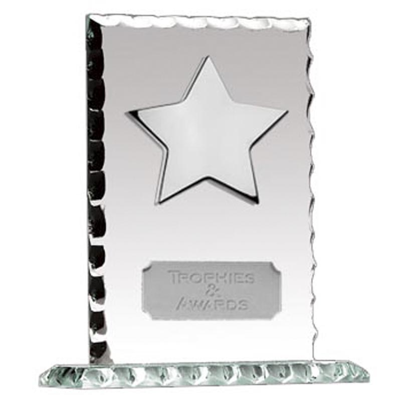 5 Inch Silver Star Pearl Edge Glass Plaque