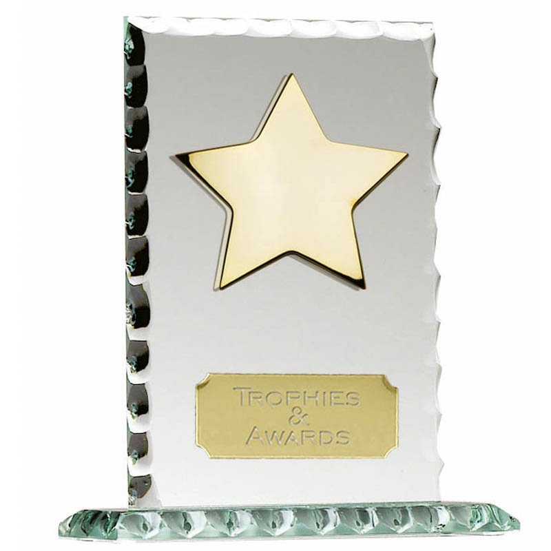 5 Inch Pearl Edge Star Jade Glass Award