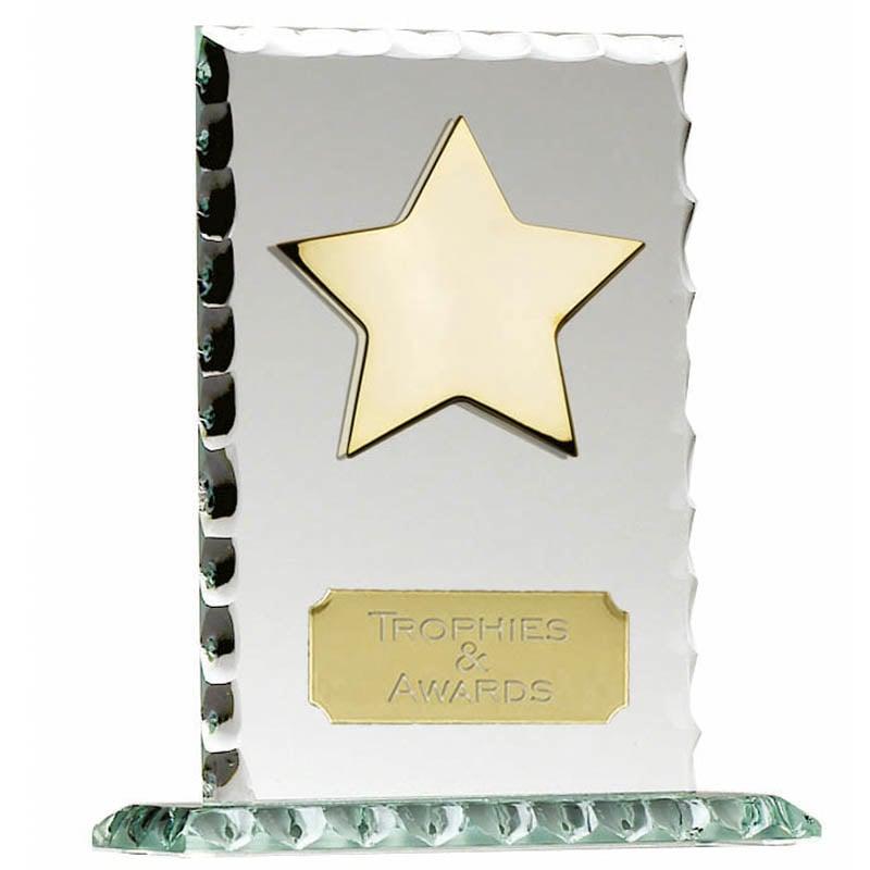 5 Inch Pearl Edge Star Jade Glass Award