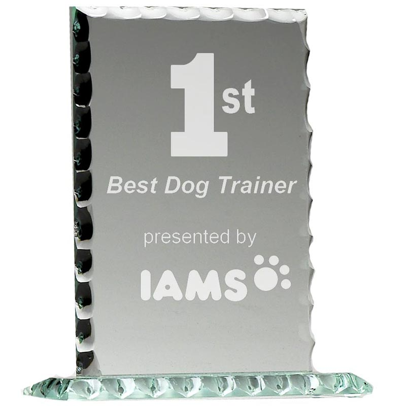 7 Inch Oblong Pearl Edged Jade Glass Award