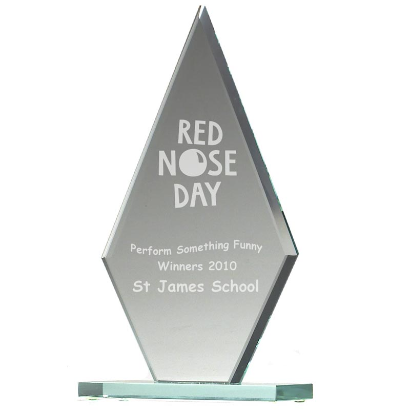 7 Inch Frosted Peaked Jade Glass Award