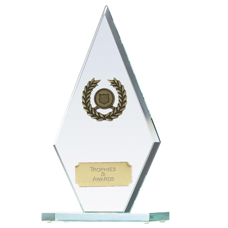 8 Inch Transparent Laurel Wreath Pointer Glass Award