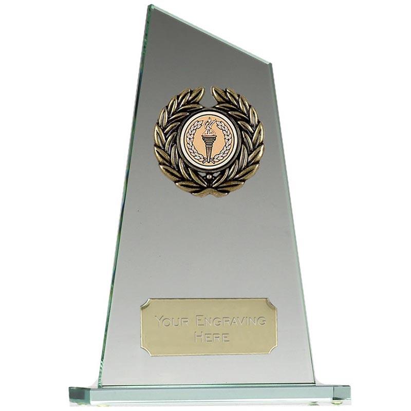 8 Inch Laurel Wreath Pointed Jade Glass Award