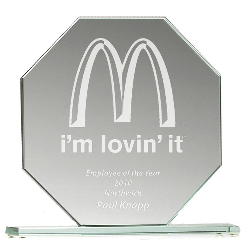 6 Inch Broad Octagon Jade Glass Award