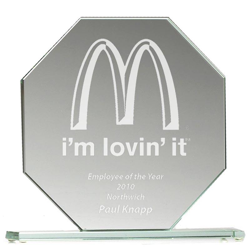 8 Inch Broad Octagon Jade Glass Award