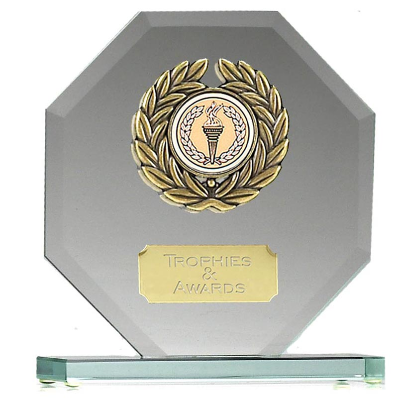 5 Inch Laurel Wreath Octagon Shaped Jade Glass Award