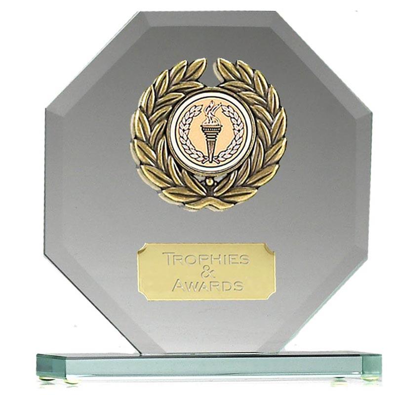 6 Inch Wreath Octagonal Jade Glass Award