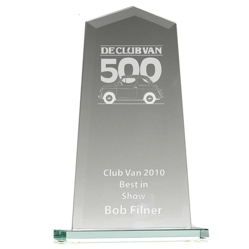 4 Inch Straight Pointed Jade Glass Award