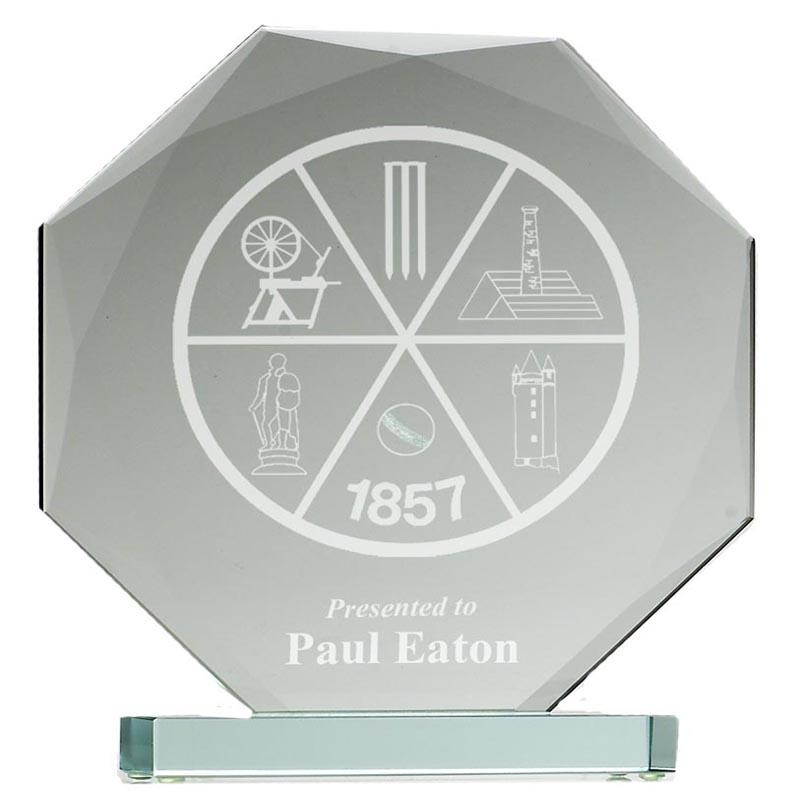 6 Inch Octagonal Diamond Edge Heavyweight Jade Glass Award